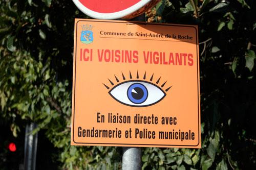 Panneau Voisins Vigilants (Saint-André de la Roche)