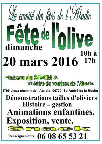 Affiche de la Fête de l'Olive 2016