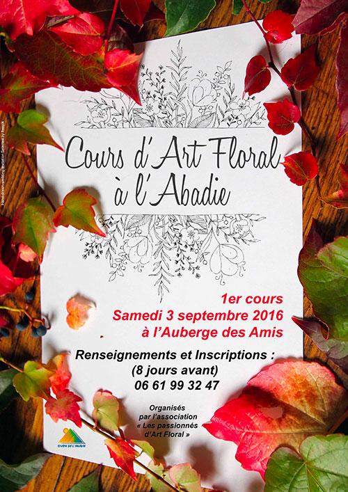 Affiche pour le premier Cours d'Art Floral à l'Abadie