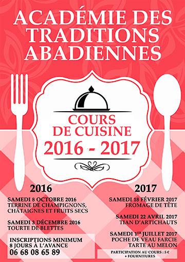 Affiche pour les cours de cuisine 2016-2017