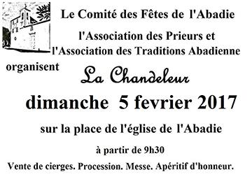 Affiche de La chandeleur à l'Abadie (5 février 2017)