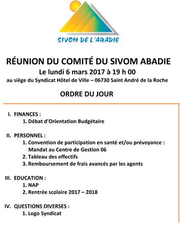 Affiche pour la Réunion du Comité du SIVOM de l'Abadie