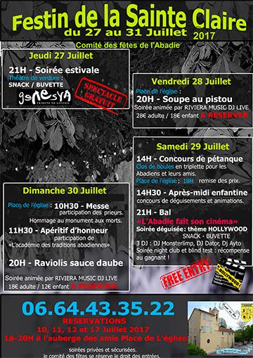 Affiche du Festin de la Sainte-Claire 2017