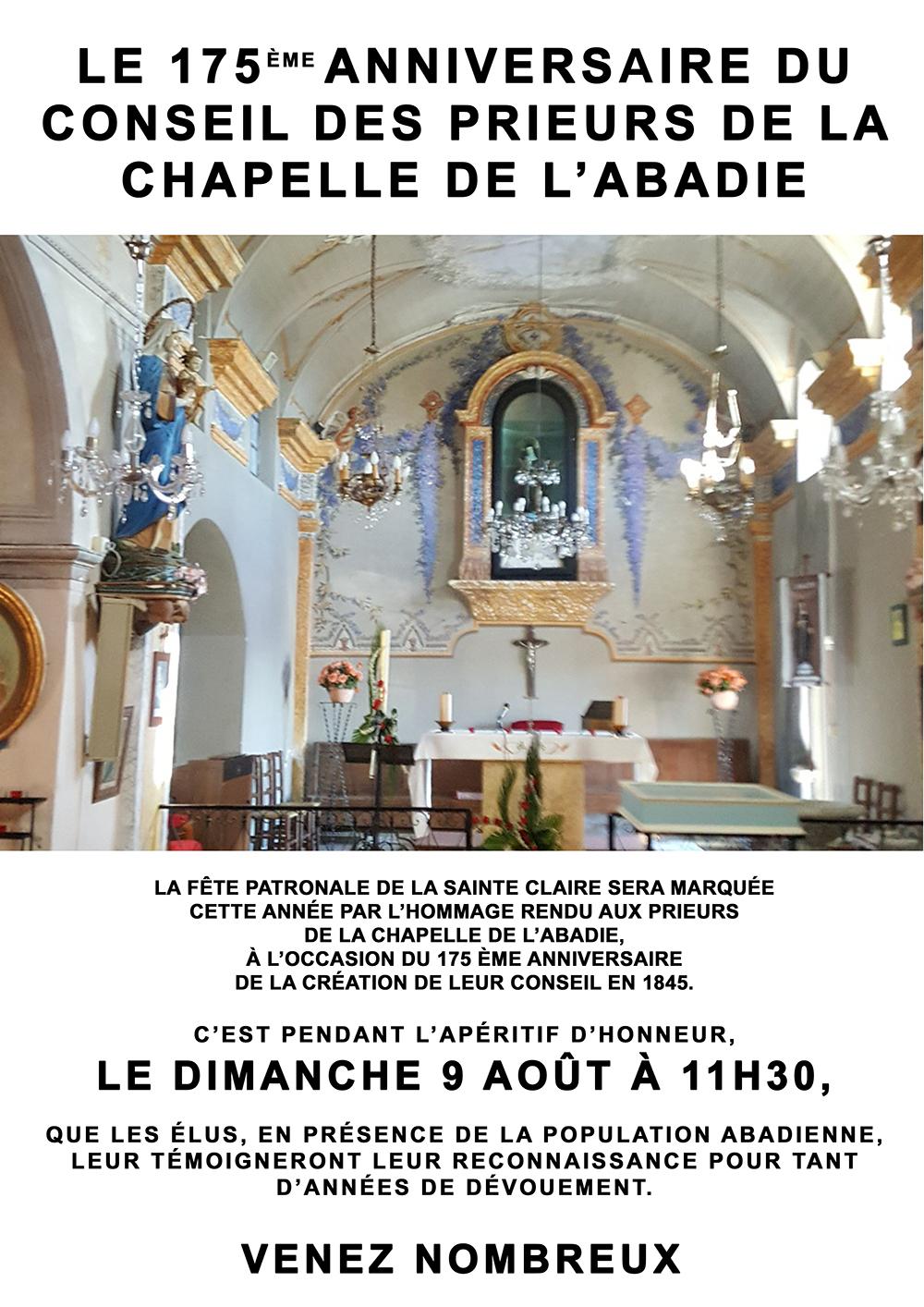 175 ème anniversaire du conseil des prieurs de la chapelle de l'Abadie
